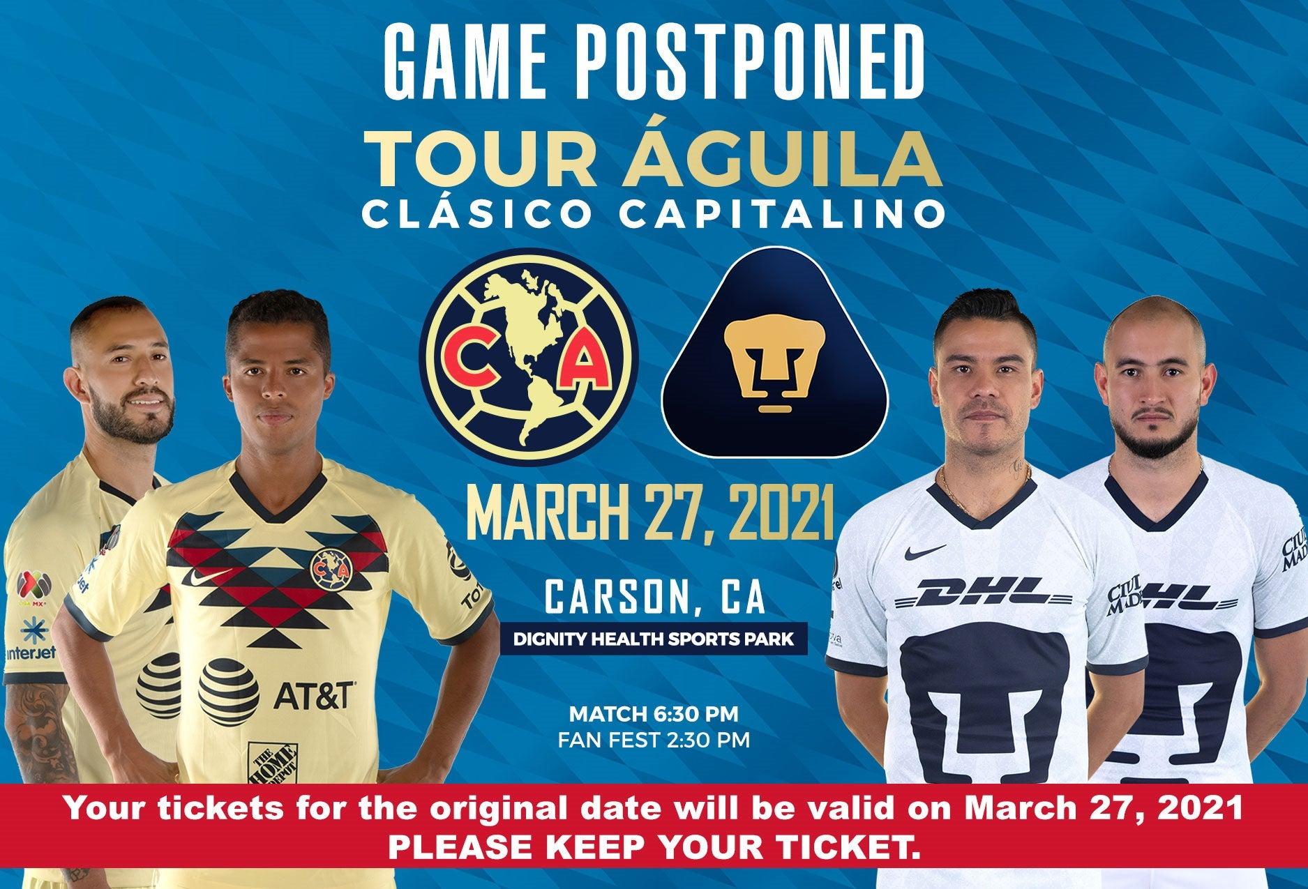 More Info for POSTPONED: Águila: Club America vs Pumas UNAM