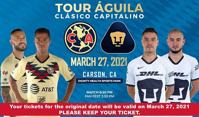 More Info for Tour Águila: Club América vs Pumas UNAM Postponed Until 2021