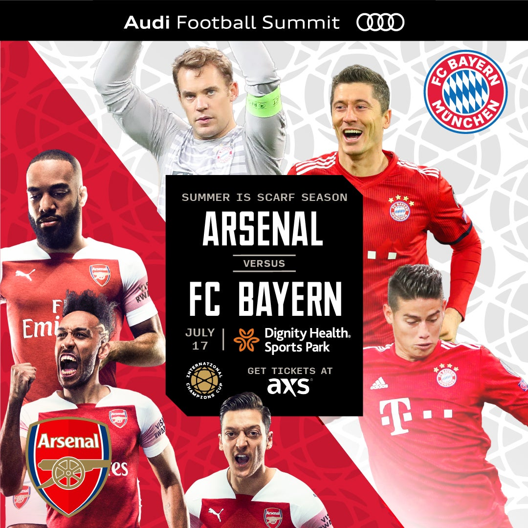 Tickets Now on Sale to Arsenal-FC Bayern 2019 ICC Match at Dignity Health Sports Park